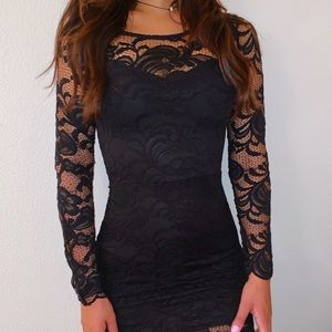 Lacy Black Body Con Mini Dress🖤